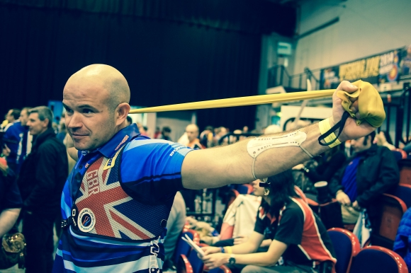 Alan Wills warming up. Qualification at the 2014 European Archery Festival. © 2014 The Infinite Curve
