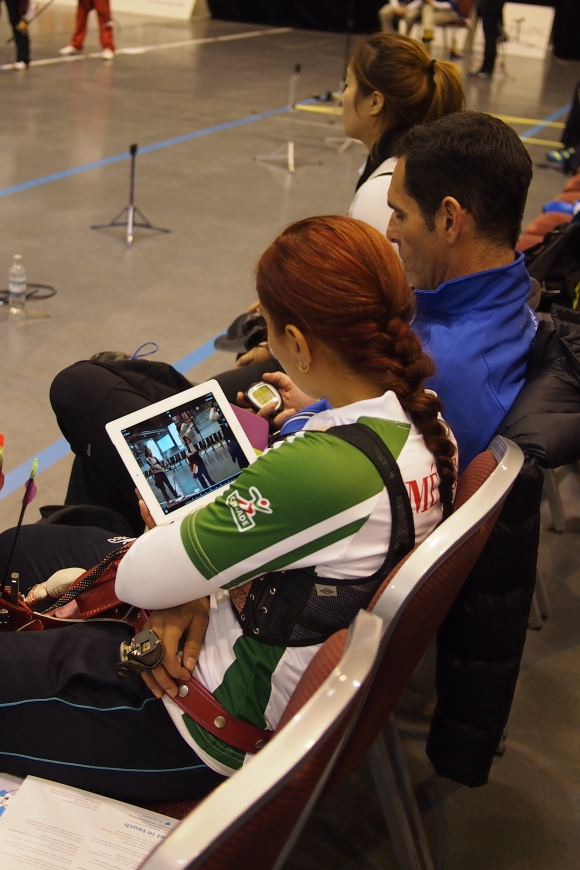 Aida Roman using 'video assist'.  Recurve shootdown at the 2014 European Archery Festival. © 2014 The Infinite Curve