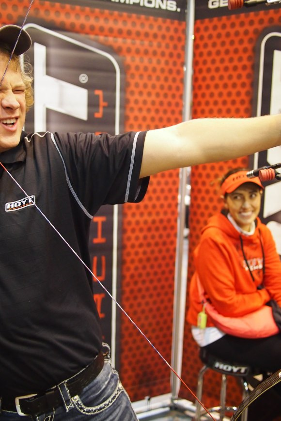 Steve Anderson on the Hoyt stand at the 2014 European Archery Festival. © 2014 The Infinite Curve
