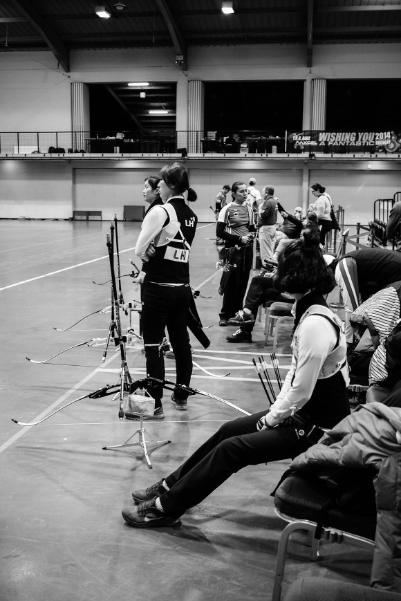 Finals warm-up at the 2014 European Archery Festival. © 2014 The Infinite Curve
