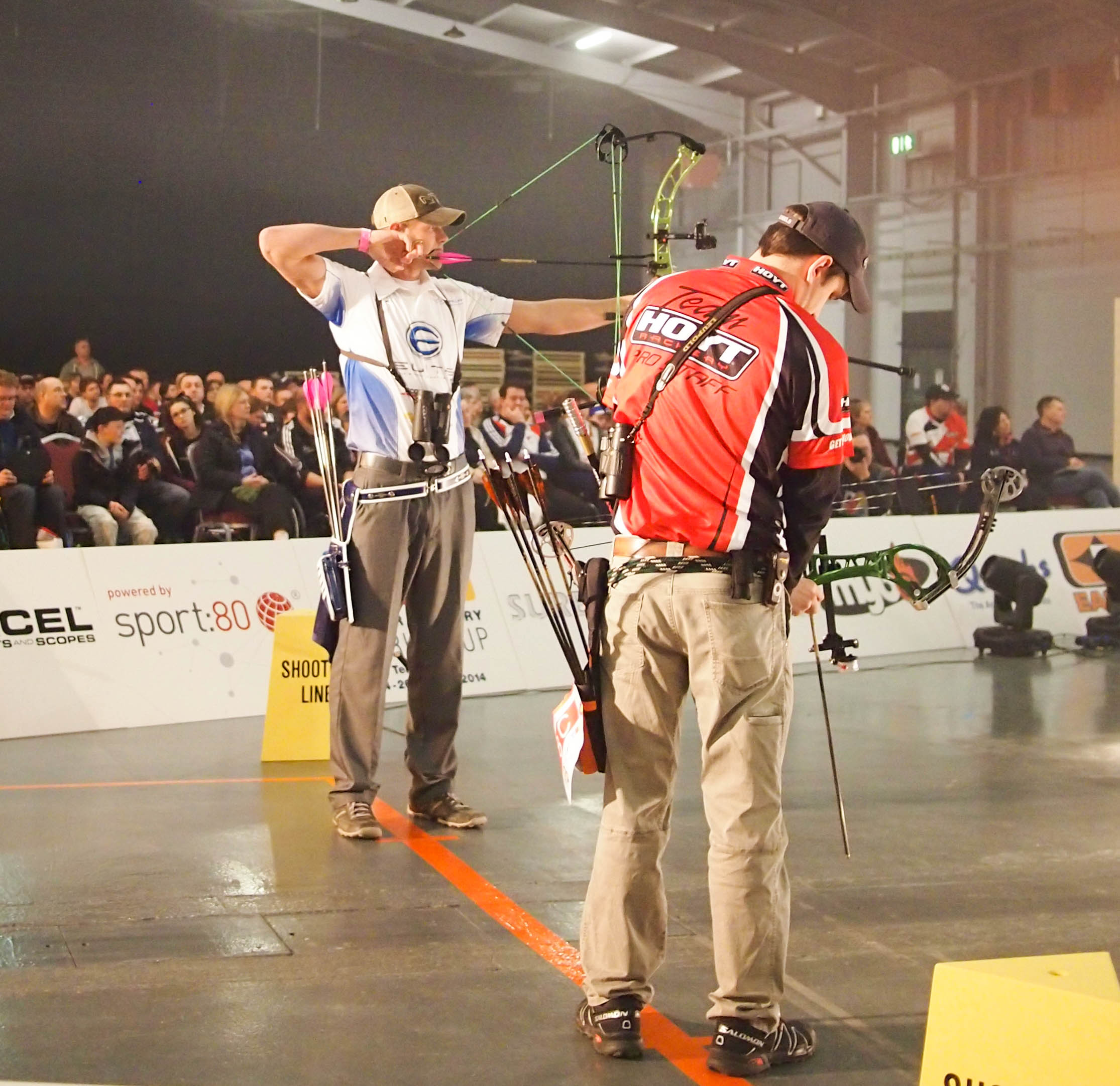Levi Morgan v Paul Tedford at the 2014 European Archery Festival. © 2014 The Infinite Curve