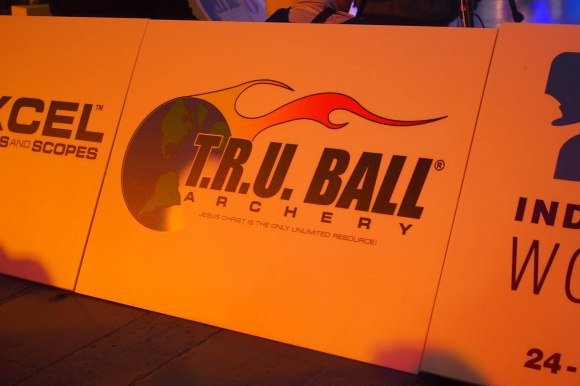 TRU Ball sign at the 2014 European Archery Festival. © 2014 The Infinite Curve