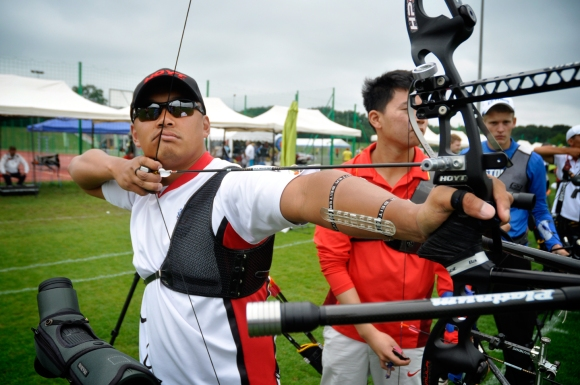 Crispin Duenas at official practice for World Cup Wroclaw 2014. Photo: WELLS/WORLD ARCHERY